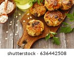vegetable cutlets with... | Shutterstock . vector #636442508