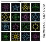set of floral monogram design.... | Shutterstock .eps vector #636447722
