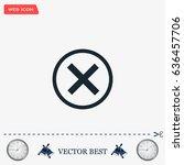 delete icon. cross sign in... | Shutterstock .eps vector #636457706