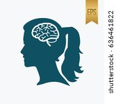 girl brain icon. flat isolated... | Shutterstock .eps vector #636461822