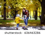 young mother showing her... | Shutterstock . vector #636463286