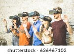 friends group playing on vr... | Shutterstock . vector #636467102