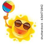 summer sun spinning beach ball... | Shutterstock .eps vector #636471842