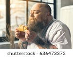 hungry thick man smelling... | Shutterstock . vector #636473372