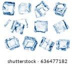 set of random ice cubes.... | Shutterstock . vector #636477182