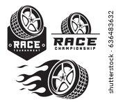 set of car wheel fire racing...   Shutterstock .eps vector #636483632