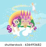 fairytale frame with castle and ... | Shutterstock . vector #636493682