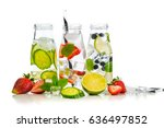 variety of infused detox water... | Shutterstock . vector #636497852