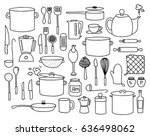 kitchen utensils  pots and... | Shutterstock .eps vector #636498062