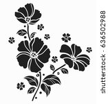 flower motif sketch for design  | Shutterstock .eps vector #636502988