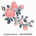 Stock vector flower motif sketch for design 636503006