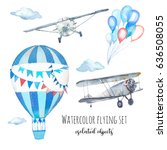 watercolor flying set. hand... | Shutterstock . vector #636508055
