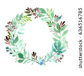 floral frame. watercolor hand... | Shutterstock . vector #636516785