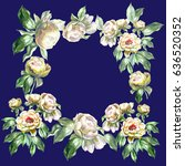 watercolor peonies garland of... | Shutterstock . vector #636520352