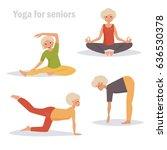 yoga for seniors. isolated art... | Shutterstock .eps vector #636530378
