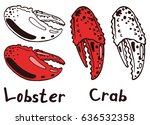 cooked boiled lobster and crab... | Shutterstock .eps vector #636532358