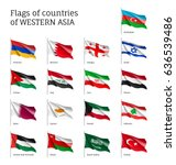 set of waving flags of western... | Shutterstock .eps vector #636539486