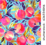 bright seamless pattern with... | Shutterstock . vector #636554846