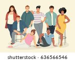 group of cartoon fat young... | Shutterstock .eps vector #636566546