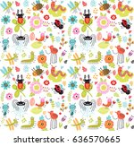 seamless pattern. insects and... | Shutterstock .eps vector #636570665