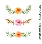 Stock photo painted watercolor set of flowers on white background elements for design valentine s day mother 636579602