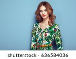blonde young woman in floral... | Shutterstock . vector #636584036