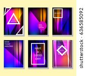 a set of six colorful abstract...   Shutterstock .eps vector #636585092