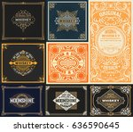9 vintage cards set | Shutterstock .eps vector #636590645