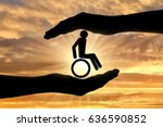 disabled person in a wheelchair ... | Shutterstock . vector #636590852