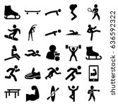 athlete icons set. set of 25... | Shutterstock .eps vector #636592322