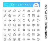 set of 56 interface line icons... | Shutterstock .eps vector #636597422