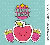 kawaii food with background... | Shutterstock .eps vector #636607276