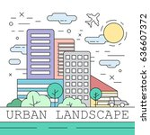 linear urban landscape... | Shutterstock .eps vector #636607372