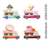food truck flat illustration.... | Shutterstock . vector #636614242