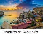 il mellieha  malta   sunset at... | Shutterstock . vector #636616495