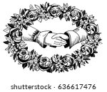handshake vintage banner in the ... | Shutterstock .eps vector #636617476