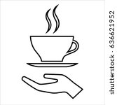 hand with cup of coffee or tea... | Shutterstock . vector #636621952