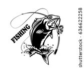 fishing logo. bass fish with... | Shutterstock .eps vector #636622258