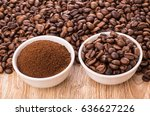 ground coffee and roasted... | Shutterstock . vector #636627226