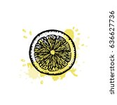 lemon slice in outline and... | Shutterstock .eps vector #636627736