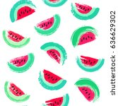 painted watermelon pattern.... | Shutterstock .eps vector #636629302