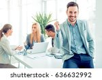 business people sitting at... | Shutterstock . vector #636632992