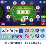 modern online poker table game... | Shutterstock .eps vector #636636352