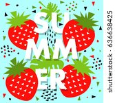 summer banner with strawberry ... | Shutterstock .eps vector #636638425