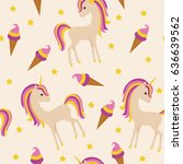 colorful unicorn and colourful... | Shutterstock .eps vector #636639562