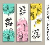 fastfood modern banners set.... | Shutterstock .eps vector #636640432