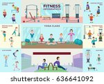 colorful fitness infographic... | Shutterstock .eps vector #636641092