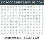 food and drinks thin line icons ... | Shutterstock .eps vector #636641125