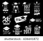 graduation class of 2017 labels ... | Shutterstock .eps vector #636641872