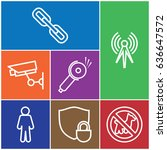 set of 7 safety outline icons...